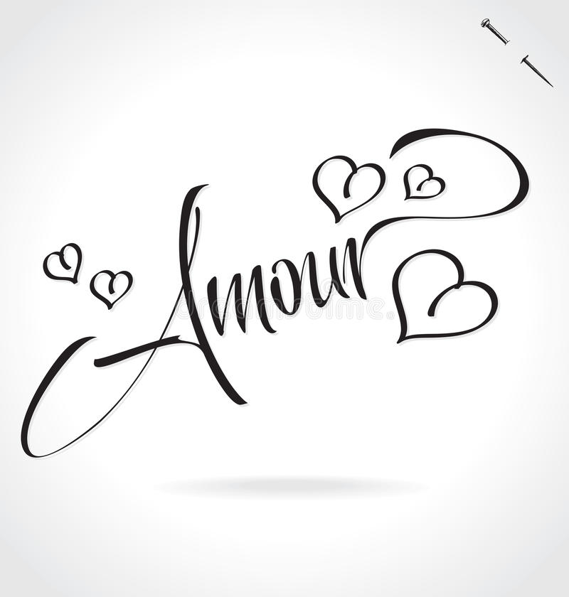 AMOUR hand lettering (vector) vector illustration