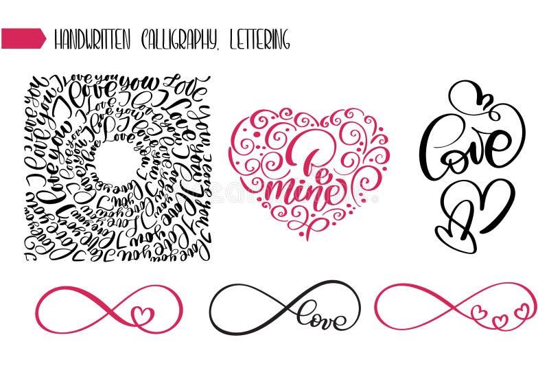 Amour heureux des textes de jour de valentines pour la carte de voeux Coeurs romantiques de signe infini avec des expressions cal illustration stock