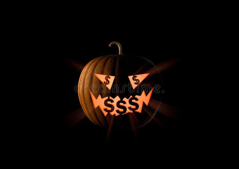 Amour insatiable avare de potiron de Halloween un argent, U S Dollar illustration libre de droits