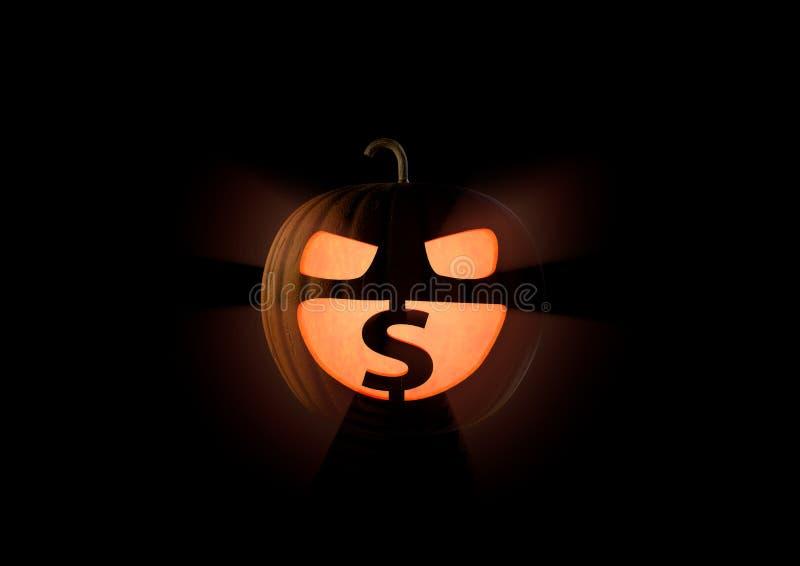Amour insatiable avare de potiron de Halloween un argent, U S Dollars sur le noir illustration stock