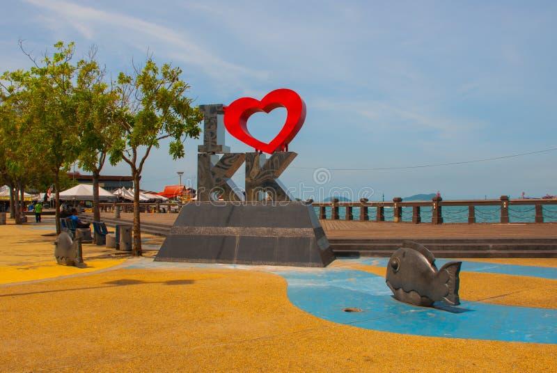 Amour KK du point de repère I décrit Kota Kinabalu Sabah Malaysia images libres de droits