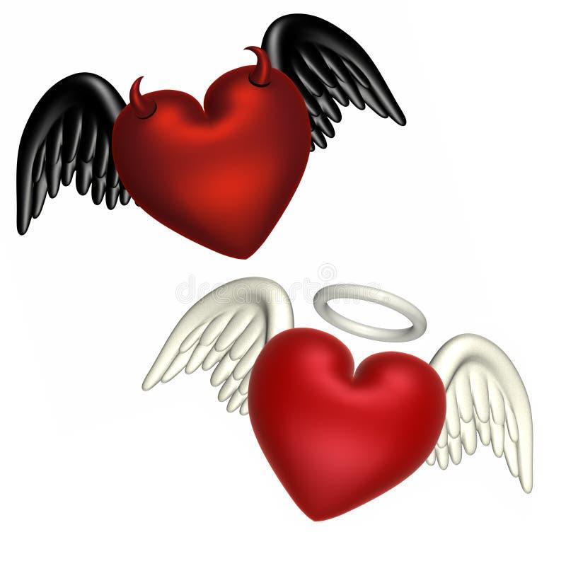 Amour - le bien et le mal illustration stock