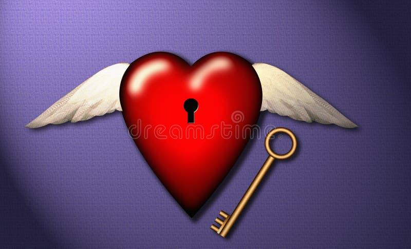Amour, liberté, clé au coeur illustration stock