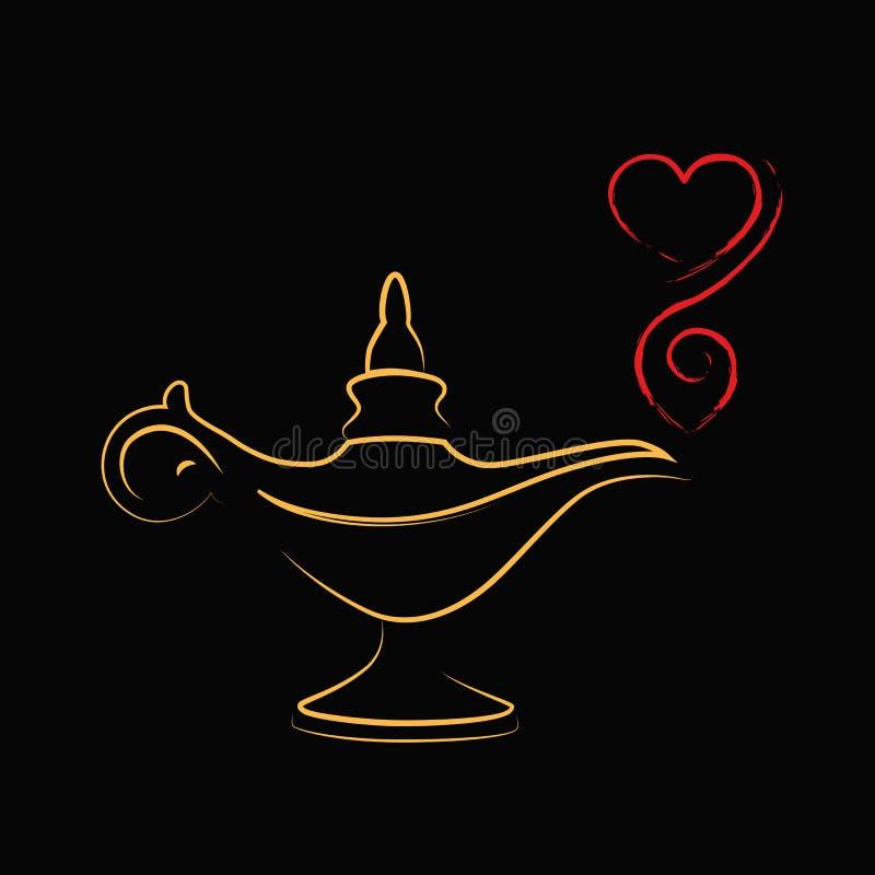 Amour magique d'or de lampe de miracle d'aladin illustration de vecteur