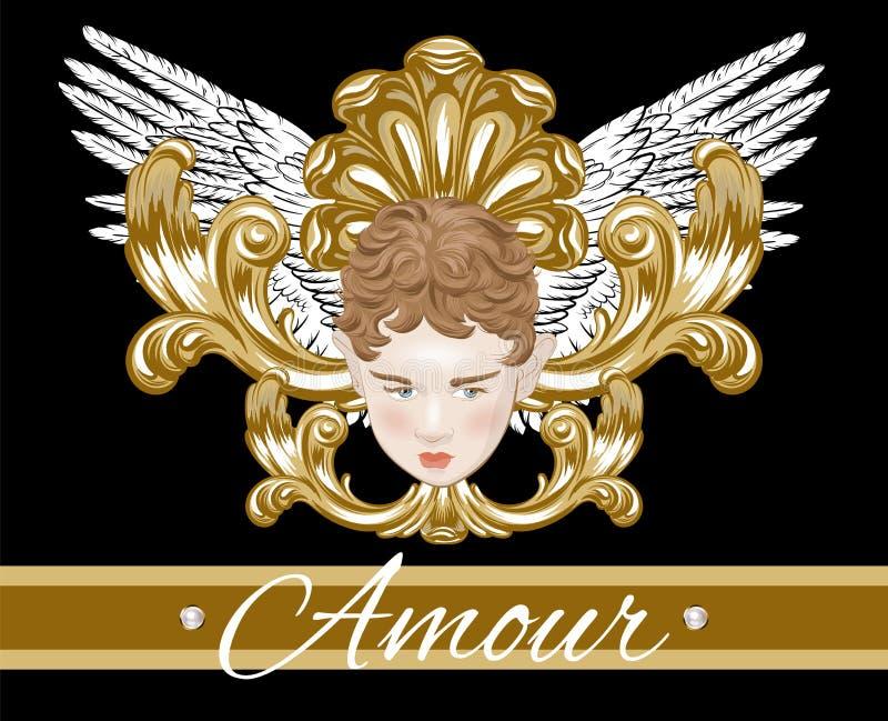 Amour Mano del vettore disegnata illustrazione del cupido con le ali isolate illustrazione vettoriale