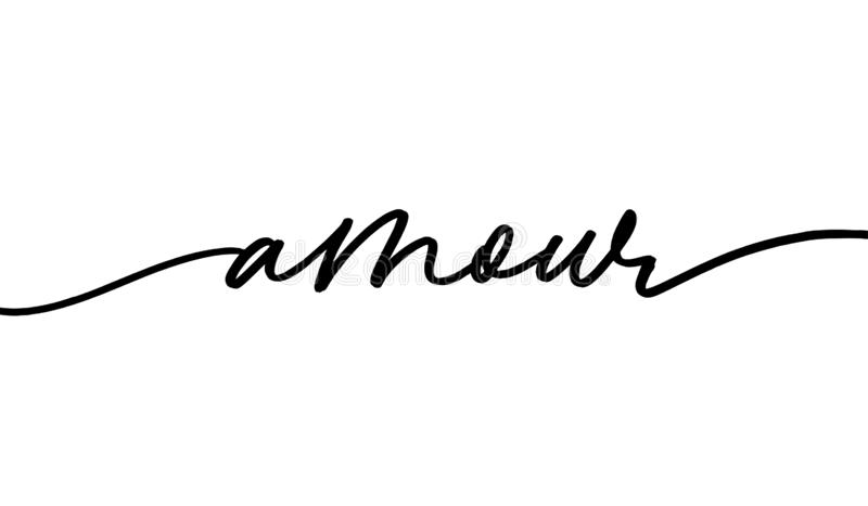 Amour monochrome handschrift stock illustratie