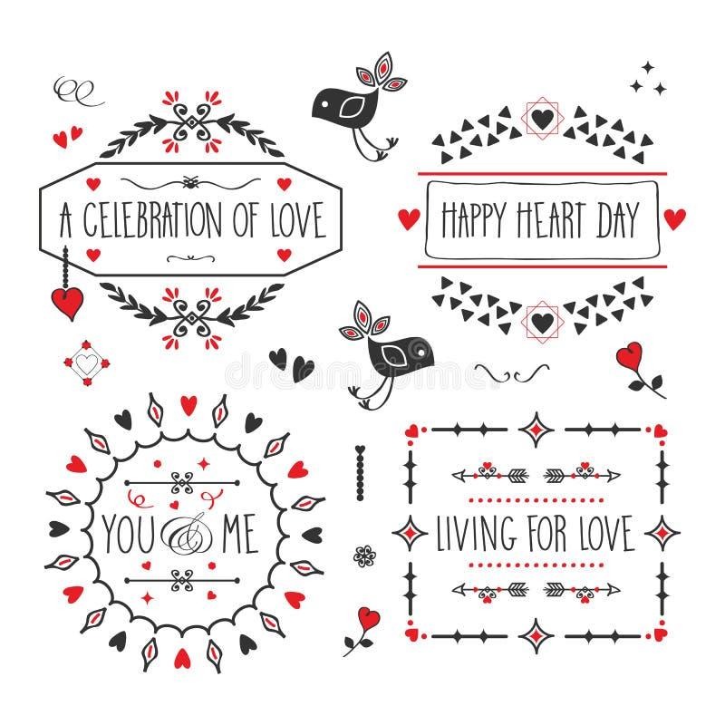 Amour noir et rouge et bannières et emblèmes romantiques de message réglés sur le fond blanc illustration de vecteur