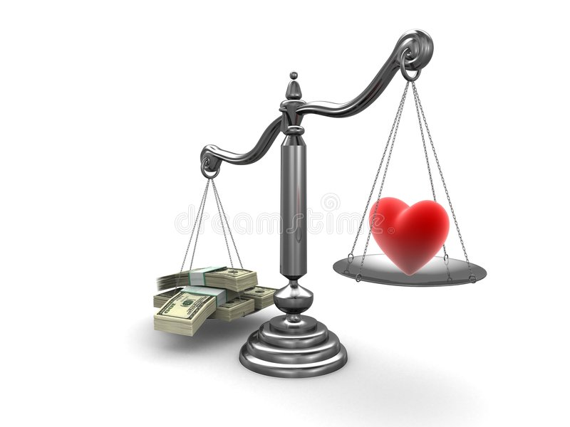 Amour ou argent illustration stock
