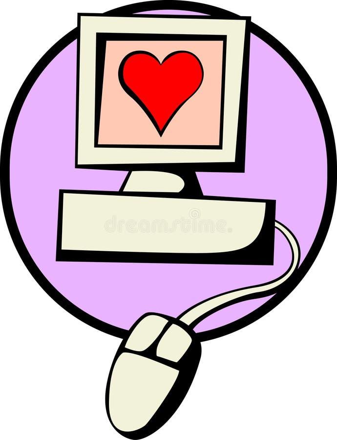 Amour par l'Internet illustration stock