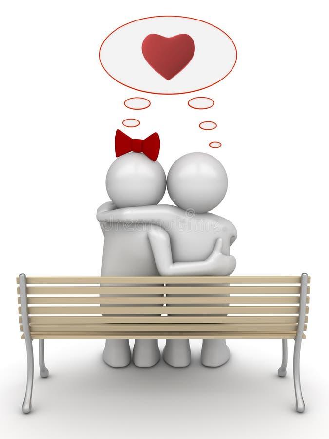Amour pensant embrassant des couples image libre de droits
