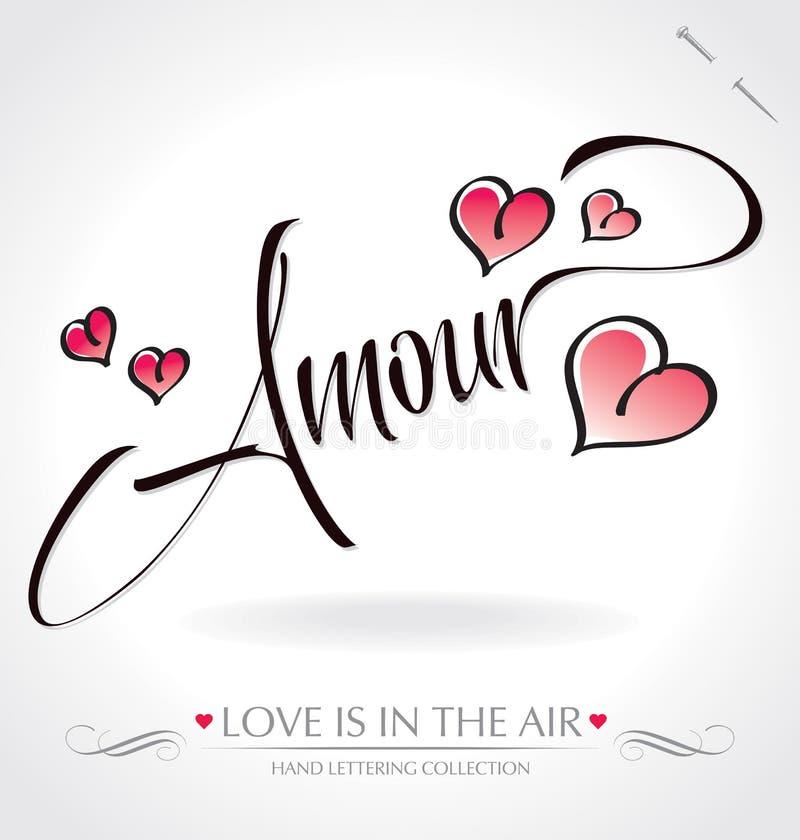 amour ręki literowanie royalty ilustracja