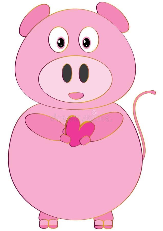 Amour rose Isolated_eps de porc illustration de vecteur