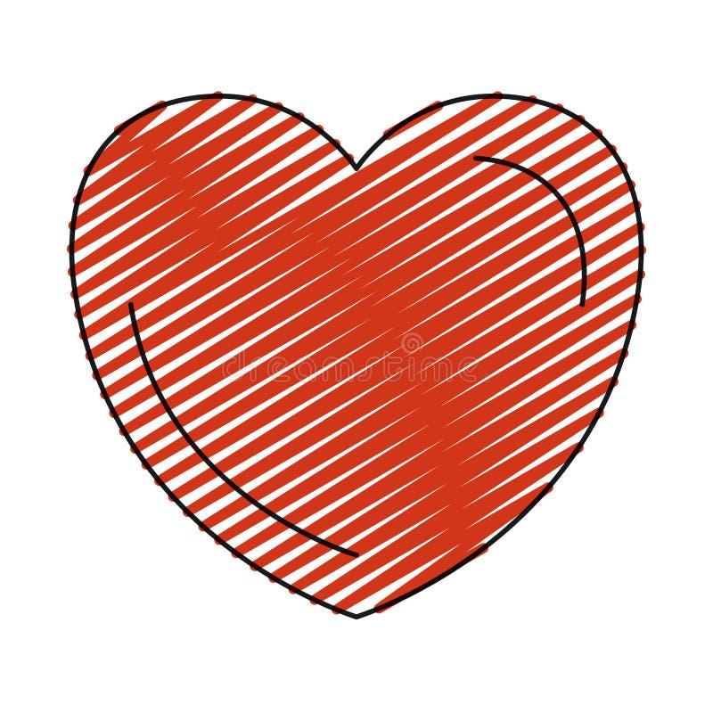 Amour rouge de symbole de forme de coeur de silhouette de crayon de couleur illustration libre de droits