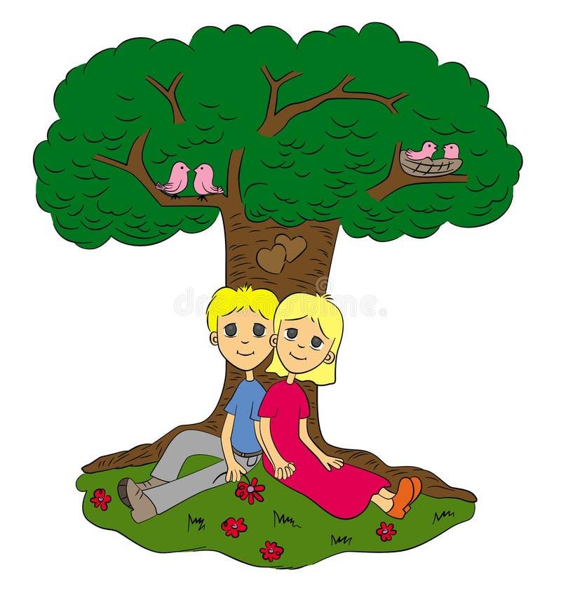Amour sous l'arbre illustration de vecteur
