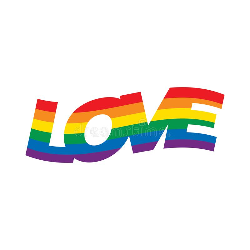 Amour, typographie de drapeau d'arc-en-ciel de mois de fiert? avec l'arc-en-ciel de fiert? illustration de vecteur