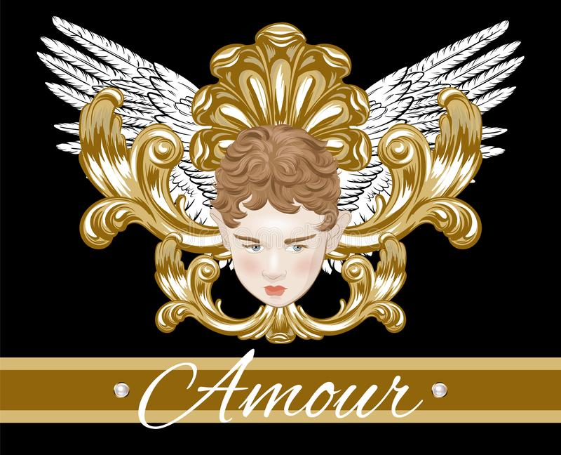 Amour.   Vector hand drawn illustration of cupid with wings  isolated. Creative artwork. Template for card, poster. banner, print for t-shirt, pin, badge vector illustration