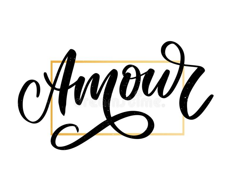 Amour. Vector handwritten lettering with hand drawn flowers. Template for card, poster, banner, print for t-shirt, pin, badge, stock illustration