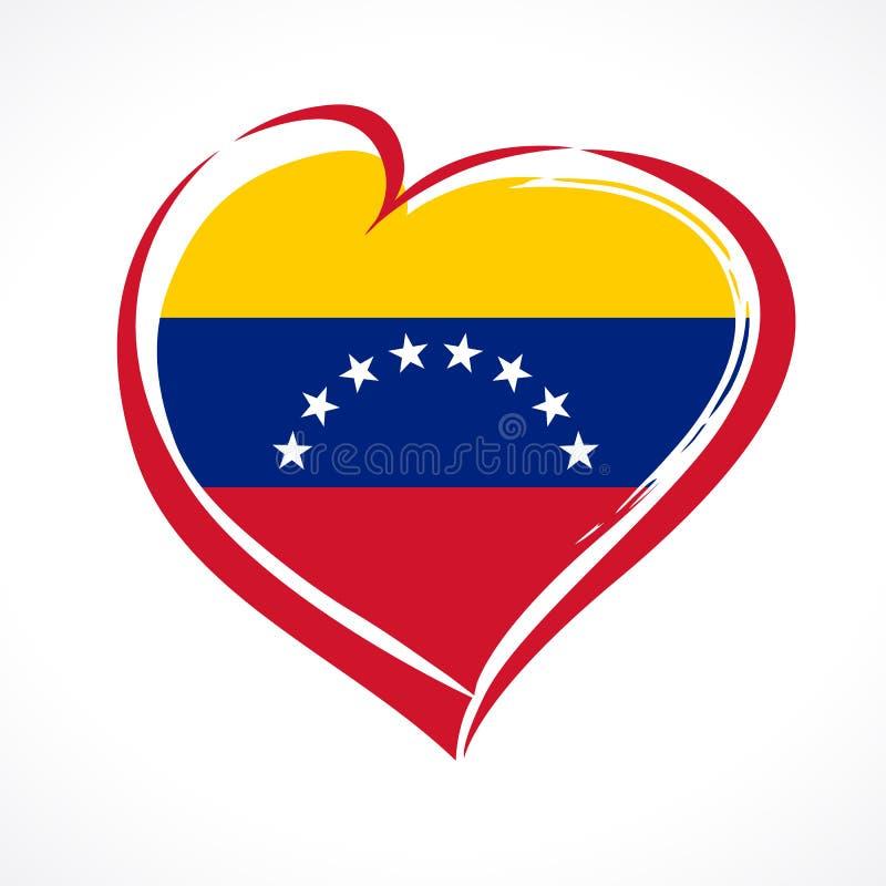 Amour Venezuela, emblème de coeur dans le drapeau national coloré illustration libre de droits
