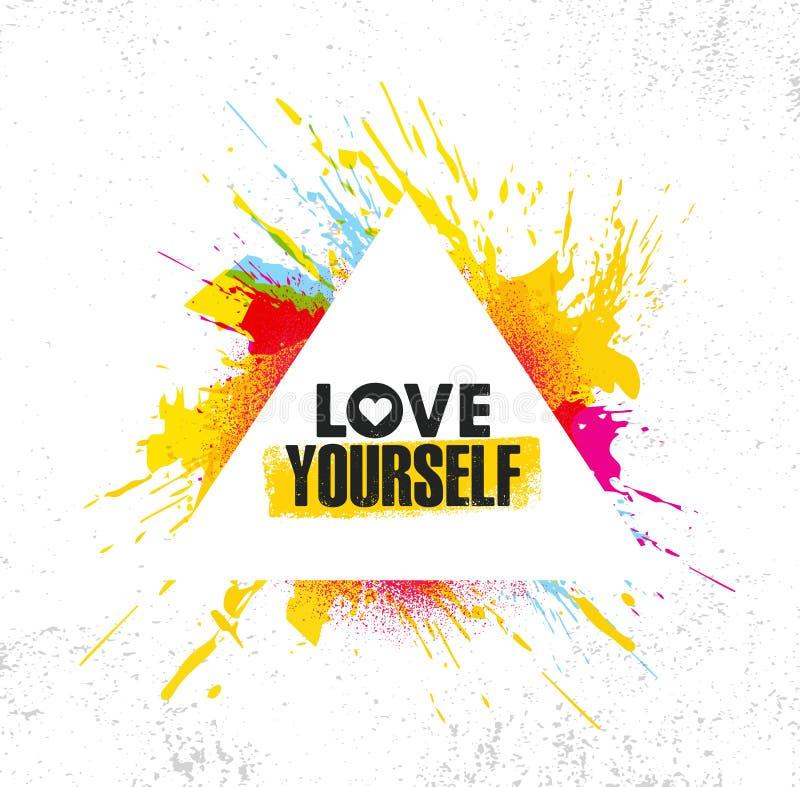 Amour vous-même Calibre créatif de inspiration d'affiche de citation de motivation Concept de construction de bannière de typogra illustration de vecteur