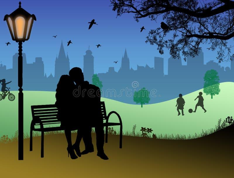 Amoureux embrassés illustration libre de droits