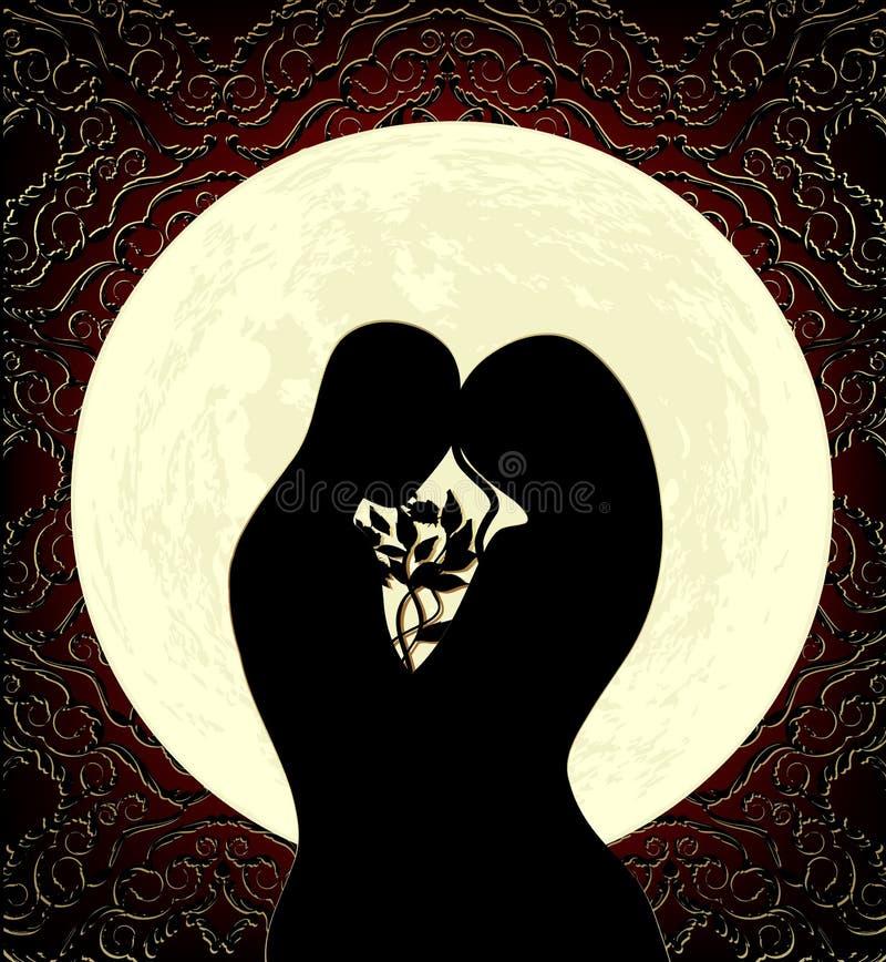 Amoureux et lune illustration stock
