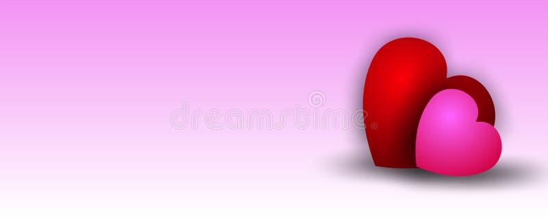 Amoureux sur le fond rose mou de texture Fond de coeur illustration libre de droits