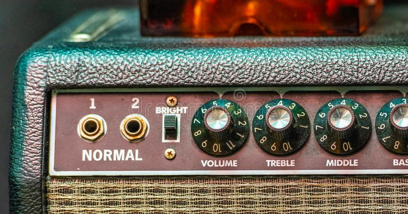 An amp where the volume goes to 11.  stock photography