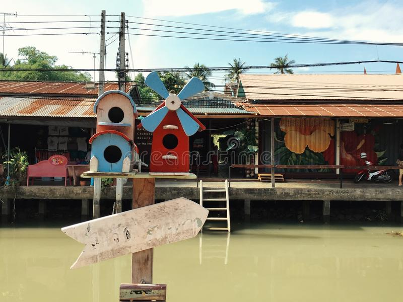 Amphawa. Thailand boat market stock image