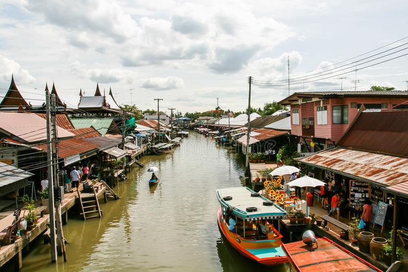 Ampawa, Thailand, 6 july 2561 Books is a famous tourist destination. Where people come to spend money for leisure travel during th. Ampawa, Thailand, july 6 2561 royalty free stock photography