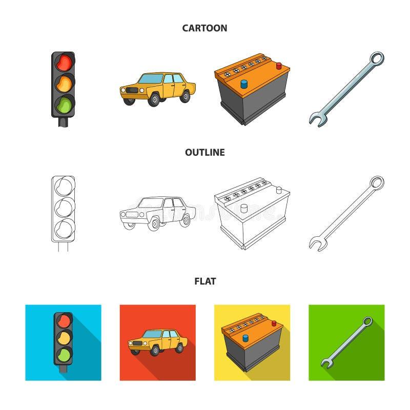 Ampel, Altes Auto, Batterie, Schlüssel, Gesetzte Sammlungsikonen Des ...