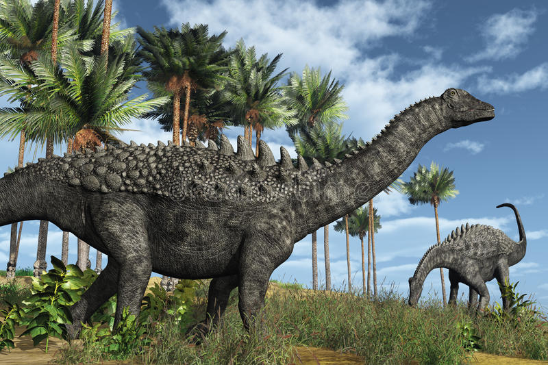 Ampelosaurus Dinosaurs. Prehistoric scene with ampelosaurus dinosaurs - 3D render vector illustration