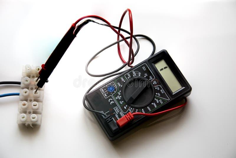 Amperímetro del voltímetro del probador imagen de archivo
