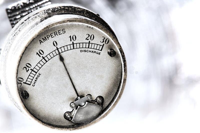 Amperios de la corriente eléctrica de calibrador eléctrico de la vendimia imagen de archivo libre de regalías