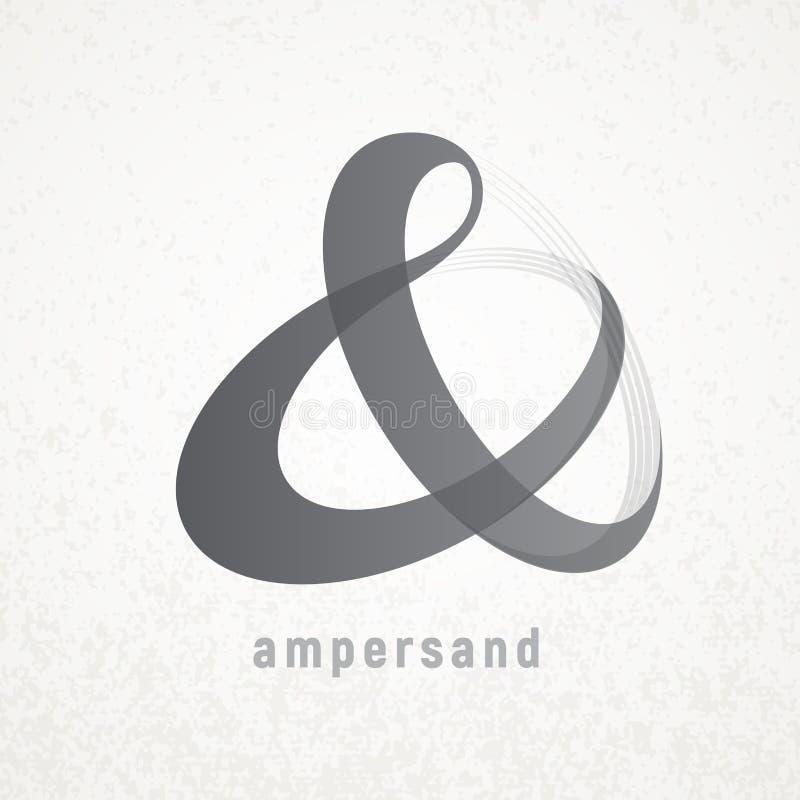 ampersand Elegancki wektorowy symbol na grunge tle ilustracji