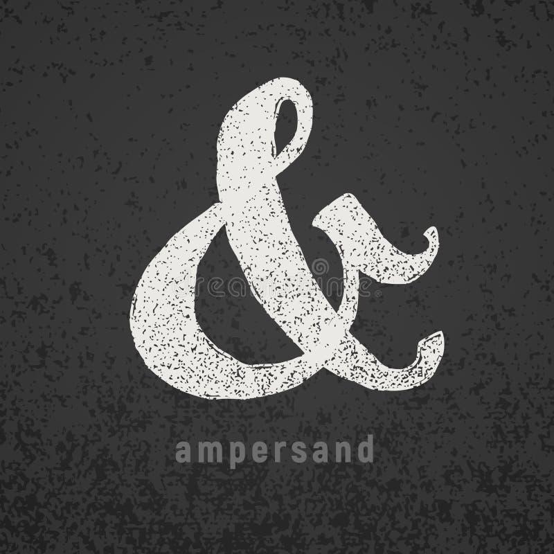 ampersand Simbolo elegante del gesso di vettore sulla lavagna di lerciume illustrazione vettoriale