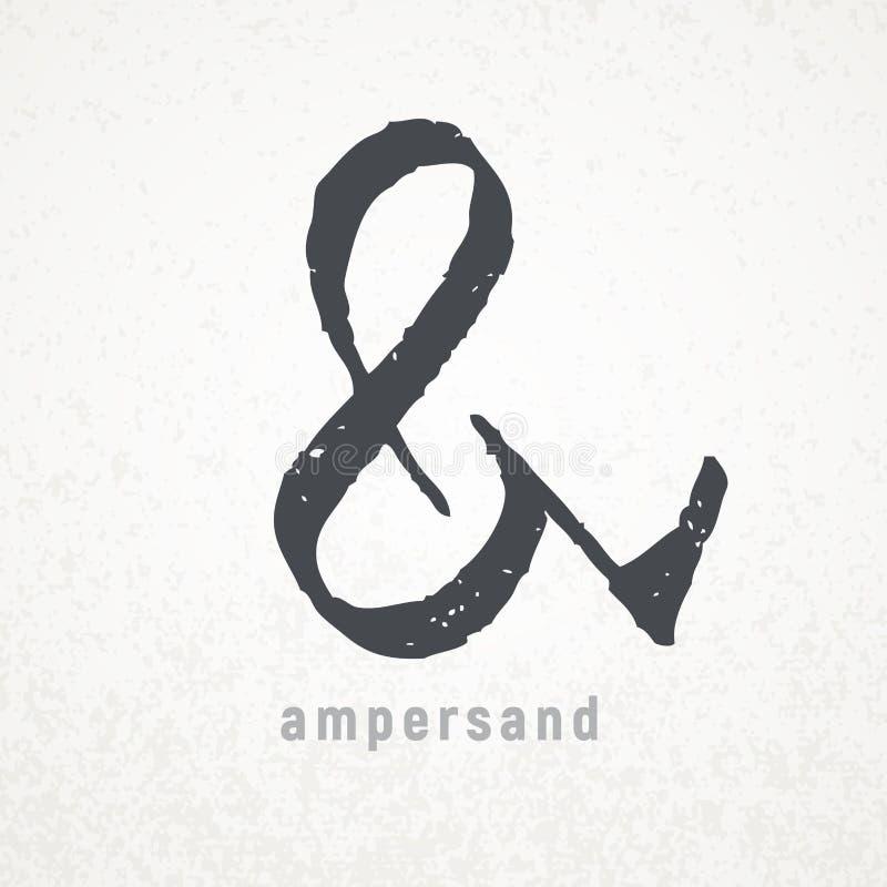 ampersand Simbolo elegante di vettore sul fondo di lerciume royalty illustrazione gratis