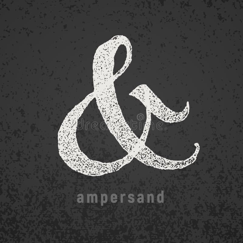 ampersand Vector elegant krijtsymbool op grungebord royalty-vrije illustratie