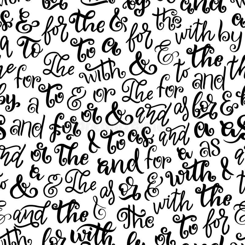 Ampersands prepositions lettering seamless pattern stock illustration