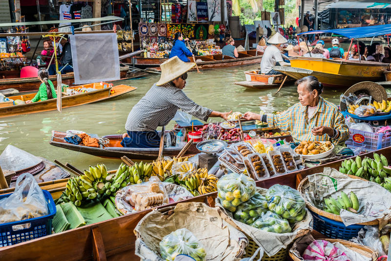 Amphawa曼谷浮动市场泰国 免版税图库摄影
