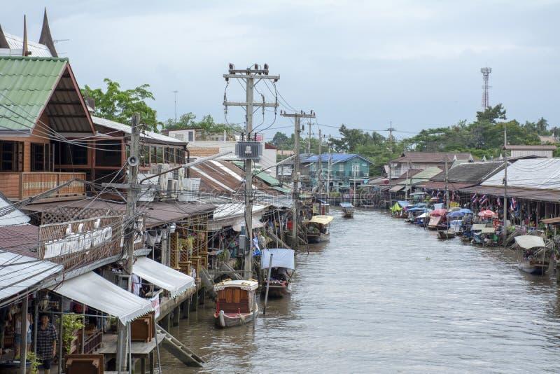 Amphawa浮动的市场,泰国视图 库存照片
