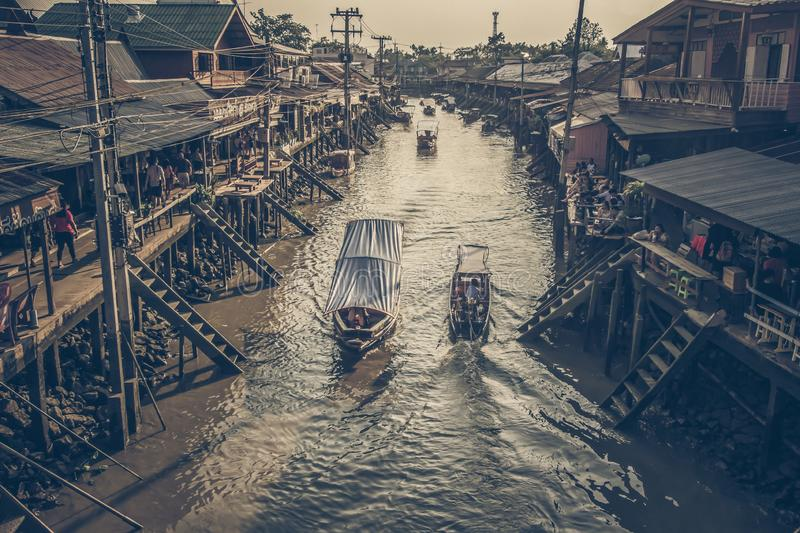 Amphawa district,Samut Songkhram Province,Thailand on April 12,2019:Attractive scene of Amphawa Floating Market. Amphawa Floating Market is the most famous stock photos