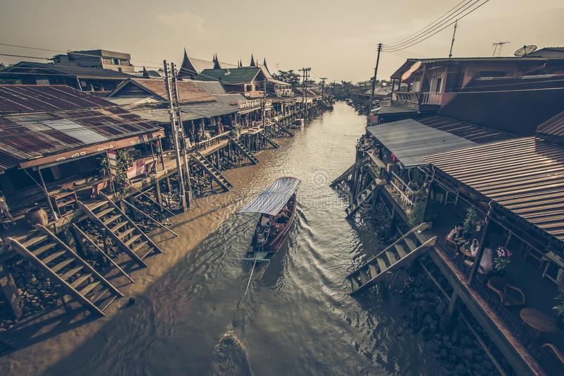 Amphawa district,Samut Songkhram Province,Thailand on April 12,2019:Attractive scene of Amphawa Floating Market. Amphawa Floating Market is the most famous royalty free stock photo