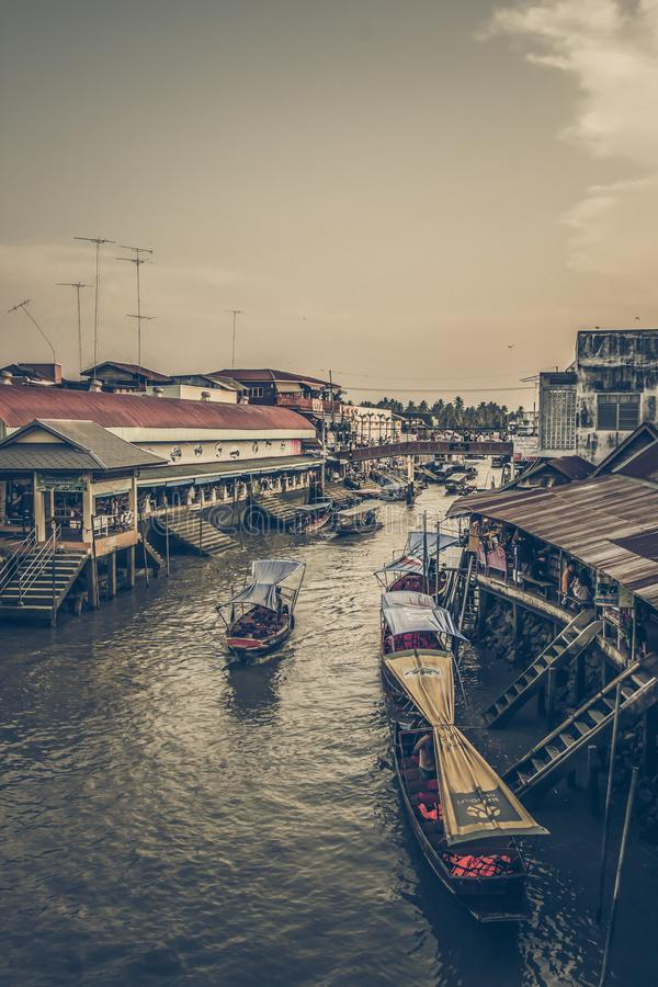 Amphawa district,Samut Songkhram Province,Thailand on April 12,2019:Attractive scene of Amphawa Floating Market. Amphawa Floating Market is the most famous royalty free stock photography