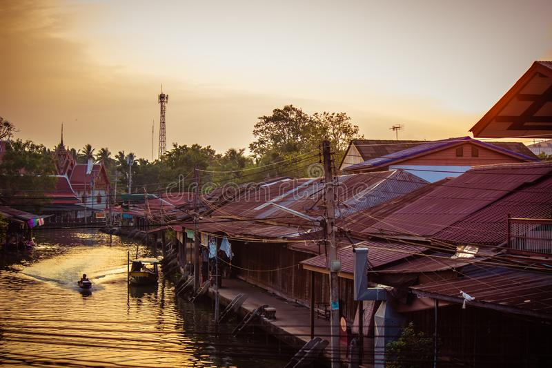 Amphawa district,Samut Songkhram Province,Thailand on April 13,2019:Morning sun at Amphawa Floating Market. Amphawa Floating Market is the most famous tourist royalty free stock photo