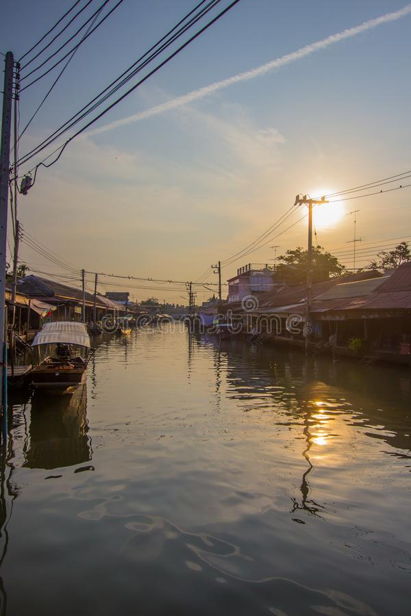 Amphawa district,Samut Songkhram Province,Thailand on April 13,2019:Morning sun at Amphawa Floating Market. Amphawa Floating Market is the most famous tourist stock photography