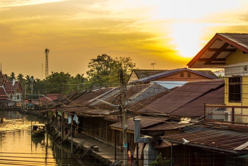 Amphawa district,Samut Songkhram Province,Thailand on April 13,2019:Morning sun at Amphawa Floating Market. Amphawa Floating Market is the most famous tourist stock photos