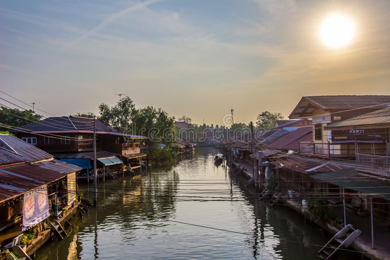 Amphawa district,Samut Songkhram Province,Thailand on April 13,2019:Morning sun at Amphawa Floating Market. Amphawa Floating Market is the most famous tourist royalty free stock photography