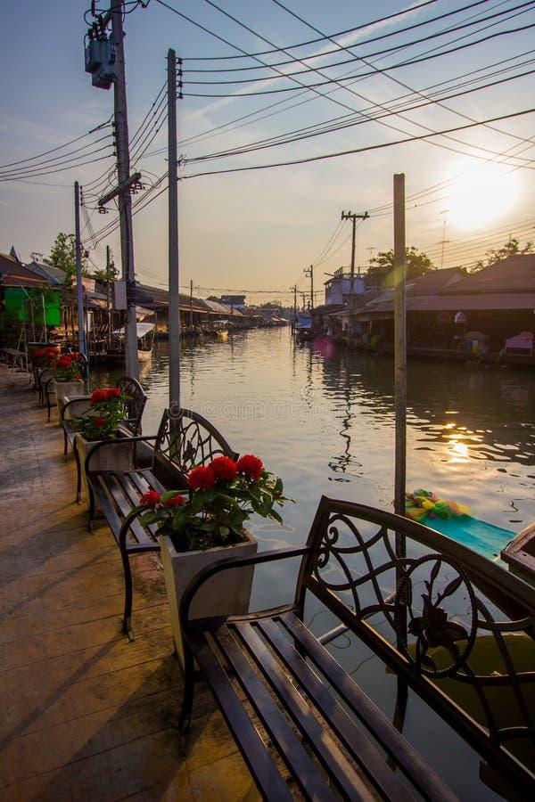 Amphawa district,Samut Songkhram Province,Thailand on April 13,2019:Morning sun at Amphawa Floating Market. Amphawa Floating Market is the most famous tourist royalty free stock photos