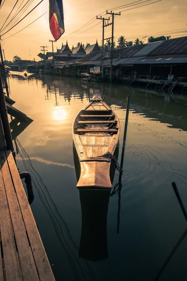 Amphawa district,Samut Songkhram Province,Thailand on April 13,2019:Morning sun at Amphawa Floating Market. Amphawa Floating Market is the most famous tourist stock photo