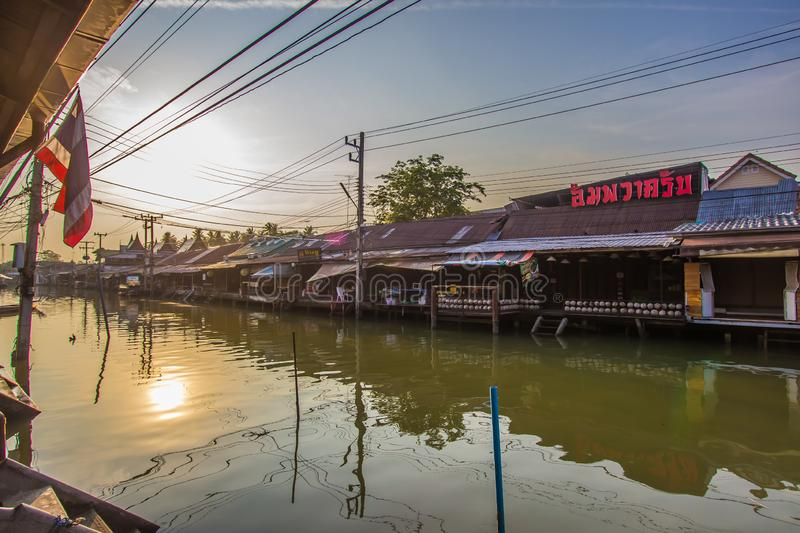 Amphawa district,Samut Songkhram Province,Thailand on April 13,2019:Morning sun at Amphawa Floating Market. Amphawa Floating Market is the most famous tourist stock images